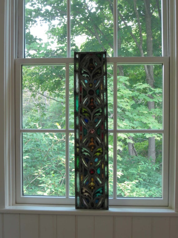 Classic antique stained, hand-etched and painted leaded glass panel from old church near Watertown, NY.