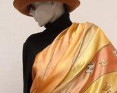 scarf silk gold yellow handpainted