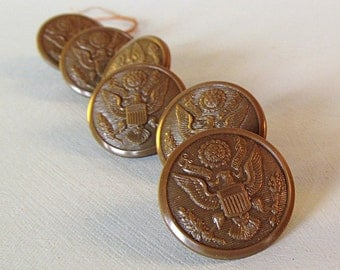 WW2 Military Hard Plastic Buttons Set of 6