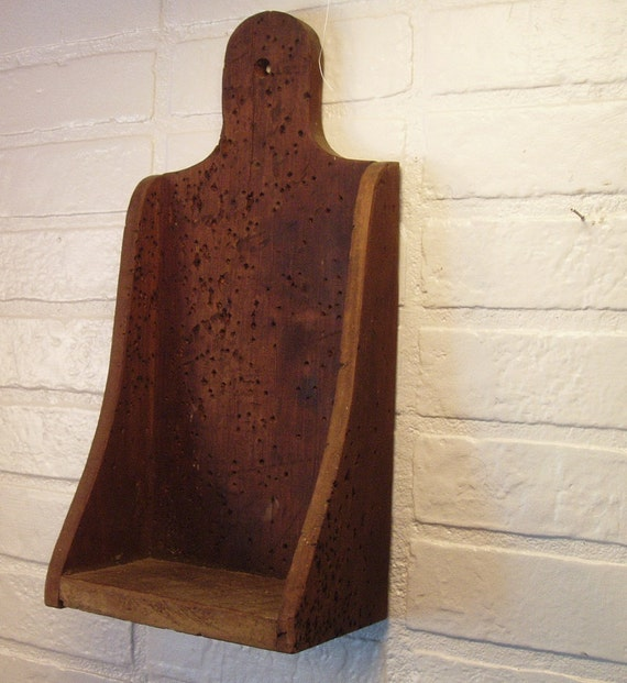 Rustic Primative Wood Candle Holder Display Shelf