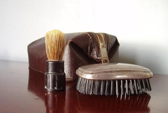 RESERVED for Megan - Retro Mens Shaving Case and Accessories