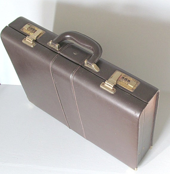 Reserved for Carlene Vintage Leather Briefcase with Combination Locks Chocolate Brown