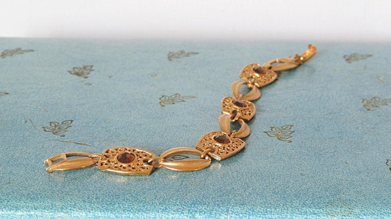 Sarah Coventry Butterscotch Collection Golden Filigree Amber Jewel Bracelet