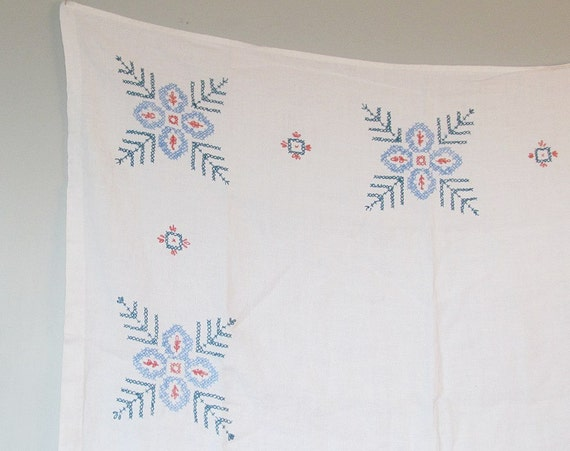 Vintage Square Blue on White Embroidered Tablecloth