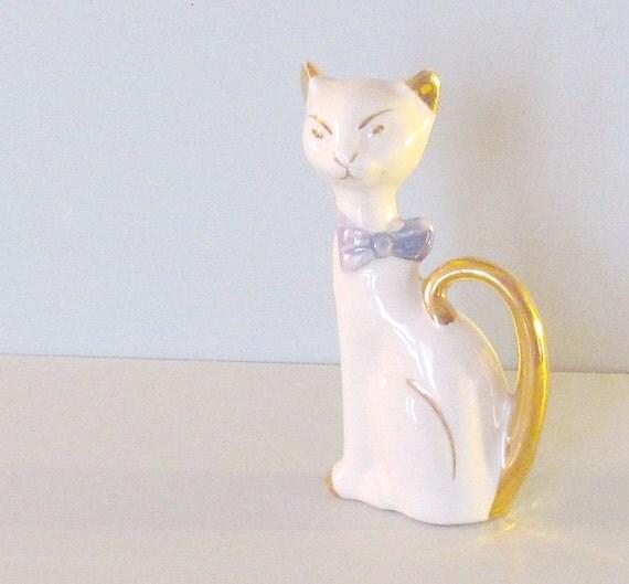 Classy Kitty Cat Figurine Sweet Blue Bow