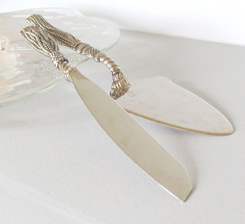 vintage silea cake knife and server set silverplate rope. Black Bedroom Furniture Sets. Home Design Ideas