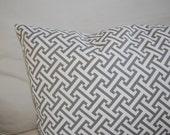 Designer Waverly Charcoal Gray Cross Section Greek Key 14 X 24 Lumbar Pillow Cover
