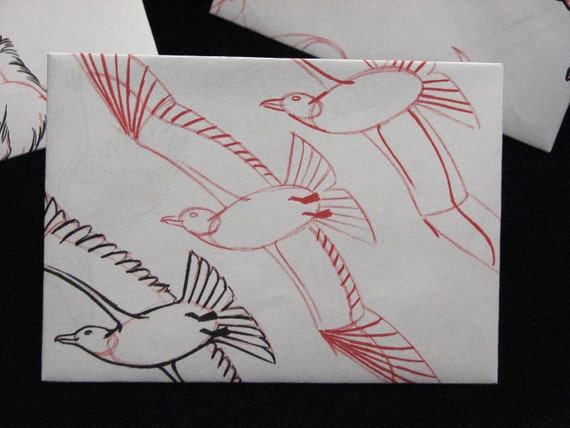 Recycled Book Page Envelopes - Learn to Draw Animals -  Set of 10  -  Revamped Upcycled Stationery  -  4 Bar Size
