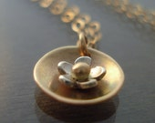 Tiny Nested Flower Blossom Necklace - Gold and Silver