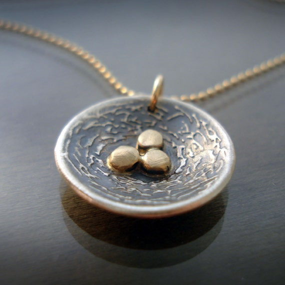 Sterling Silver Nest With Three Gold Eggs Neckalce
