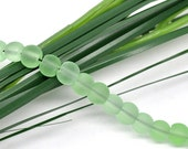 50 Pcs Green Round Frosted Glass Beads 6mm Dia 11256