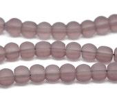 """50 pcs Mauve Round Frosted Glass Beads 6mm Dia. 11-3/4""""(30cm) 11534"""