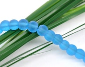 """50 Pcs Blue Round Frosted Glass Beads 6mm Dia. 11-3/4""""(30cm) 11257"""