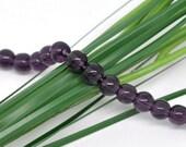 """50 pcs Dark Purple Round Glass Beads 6mm Dia. 11-3/4""""(30cm) 11121"""