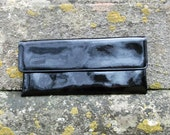Vintage 1950s Black Vinyl Jane Shilton Clutch Ultra long & slim wet glossy black look