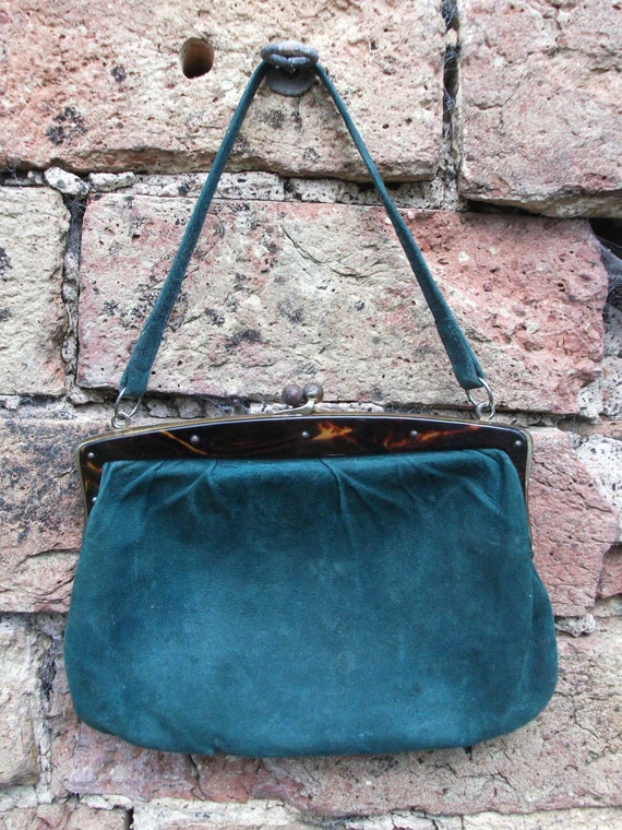 RESERVED ITEM -1920s Vintage/Antique Green Suede Purse Handbag with Tortoise Shell Frame