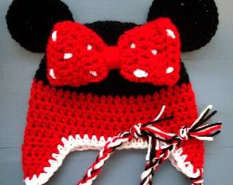 Baby Girl Crochet Minnie Mouse Beanie Hat SIZE NEWBORN-ADULT