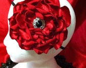 Tallie - Beautiful and Delicate Red Layered Satin Rose with Burnt Edges and a Rhinestone Center - Headband and/or Brooch Pin