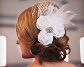 Bridal - Trio Rosettes in White with Feathers and Bird Cage Veil and a Rhinestone Center Hair Clip