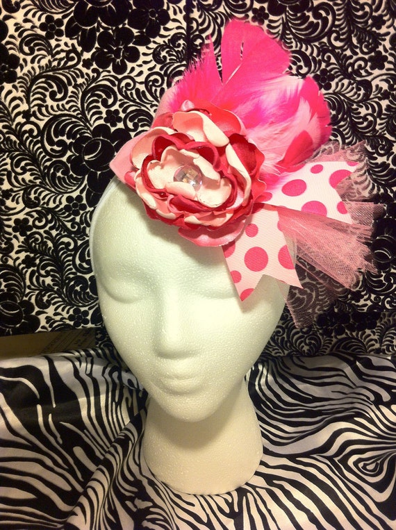 CLEARANCE - 50% OFF - Ready to Ship - Pink Color Combo Mini Top Hat with Layered Rose - Pink Feathers, Ribbon, Tulle - Reg 24.95 Sale 12.50