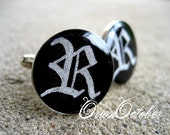 Personalized Monogram Cufflinks  Black & Silver Custom Gothic Calligraphy Initial Cuff Links Wedding Formal Accessory Father's Day