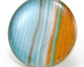 Tangerine & Turquoise Tie Tack  OOAK Retro Stripe White, Orange and Aqua Blue in Silver Lapel Pin Men's Accessory Father's Day
