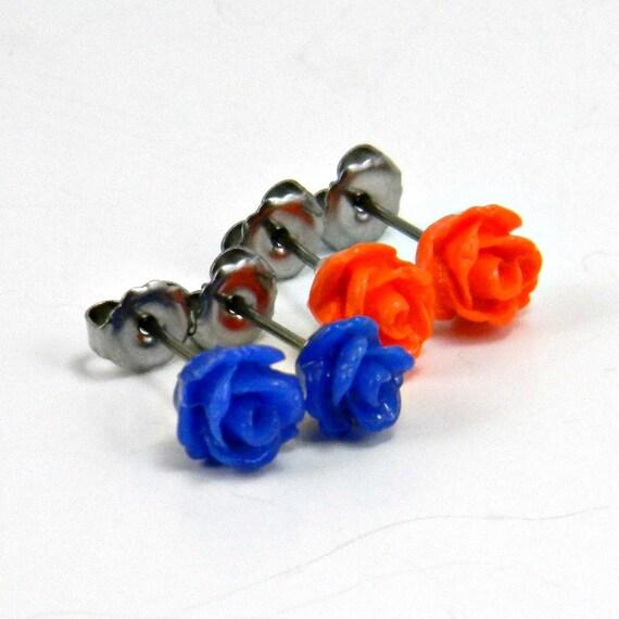 Denver Broncos Tiny Earring Pair   Bright Orange & Cobalt Blue Rose Titanium Post Stud Earrings  NFL Hypoallergenic Jewelry  Cheerleading