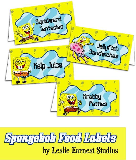 Items Similar To PRINTABLE Spongebob Squarepants Food