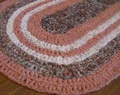 "crochet rag rug oval ""Memories"" (21"" x 38"")"