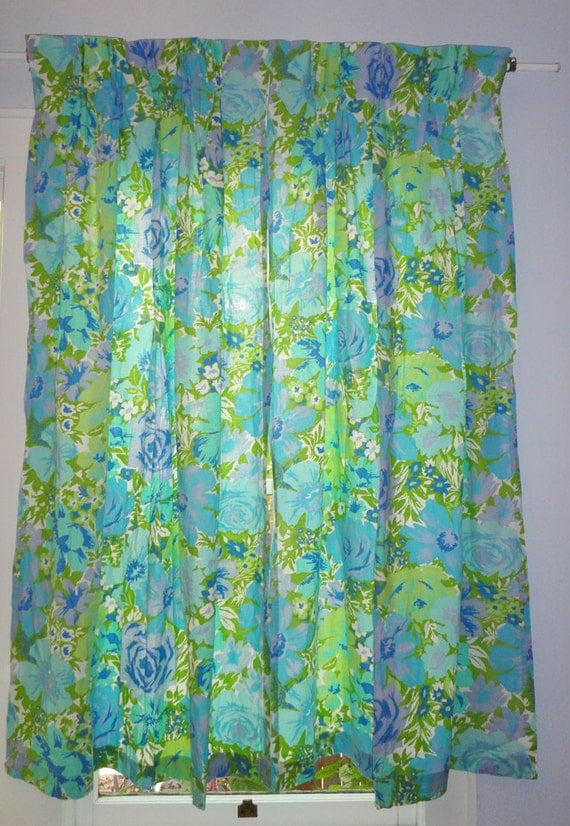 Vintage Set Of 2 Blue Purple Green Floral Curtains