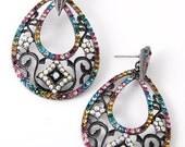 Multi-color Rhinestone Post Earrings