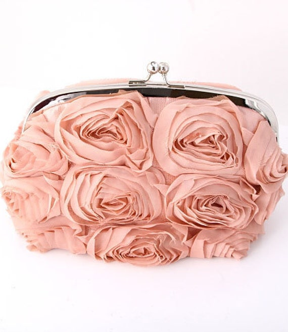 "The ""Vintage Peach Bouquet""- Evening Bag"