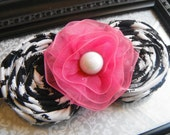 FREE SHIPPING - Double Black and White Handmade Rosettes-Hot Pink Lace Ribbon Flower with Pearl Center - Black Elastic Headband