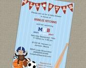 Sports themed baby shower invitation, All Star Invite, MVB, digital, printable file