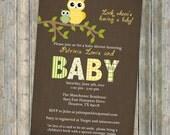 Gender Neutral owl baby shower invitations, baby  shower invitation with owls, Digital, Printable file