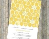 honey comb baby shower invitation, bee themed shower, digital, printable file