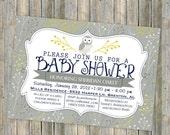 owl baby shower invitation, typography baby shower invitation, digital, printable file