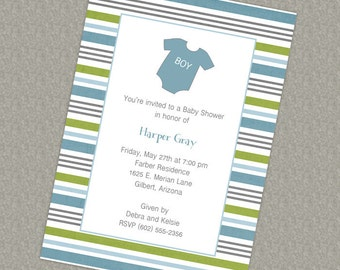 Baby onesie shower invitation, blue and green printable, digital file