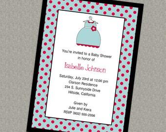 Baby girl shower invitation, dress, polka dots, stripes digital file