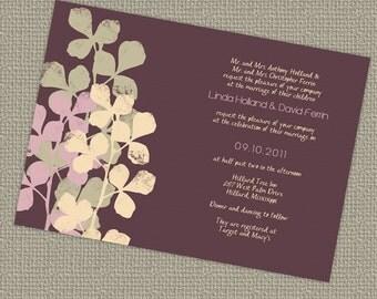 purple wedding invitation with leaves, digital, printable jpeg