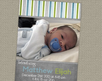 baby boy birth announcement with photo, printable, digital file