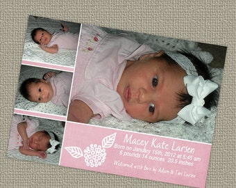 baby girl birth announcement, shabby pink, digital, printable file
