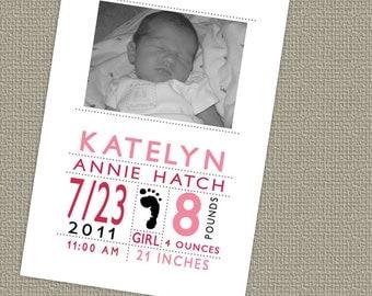 Modern Baby Girl Birth Announcement, Printable Digital File