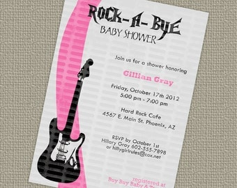 Rock a bye, baby girls shower invitations with guitar printable, digital file