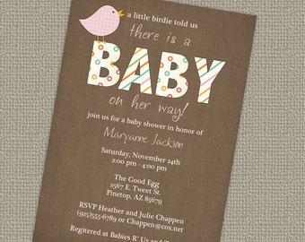 baby girl shower invitation with bird, Digital, Printable file
