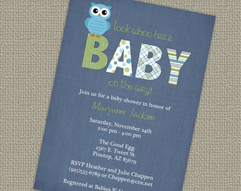 owl baby shower invitations, blue baby boy shower invitation, Digital, Printable file