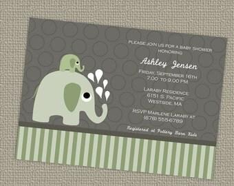 elephant baby shower invitation, Elephants, gender neutral, digital, printable file