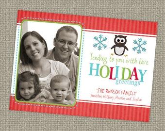 Christmas/Holiday photo card, owl or penguin digital, printable file