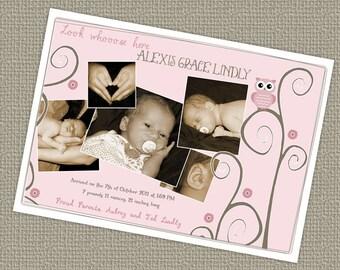 Baby girl photo birth announcement, digital file
