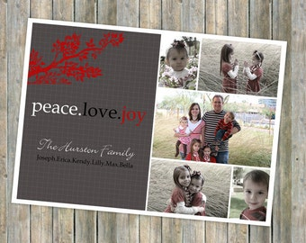 Family holiday photo card, christmas card, family christmas card, digital, printable file